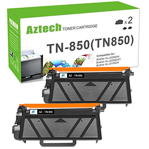 (AZTECH Compatible Toner Cartridge Replacement for Brother TN850 TN-850 TN820 Brother HL-L6200DW MFC-L5900DW HLL6200DW HL-L6200DWT HL-L5100DN HL-L5200DW L6800DW Business Laser Printer High Yield 2PK)