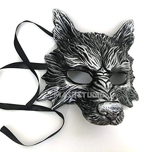 MasqStudio Black Silver Wolf Mask Animal Masquerade Halloween Costume Cosplay Party mask for $<!--$17.95-->