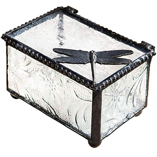 Dragonfly Trinket Box Glass Jewelry Keepsake Display Decorative Boxes Nature Themed Home Décor Knick Knacks Collectibles Gift Trinket Dish Ring Holder Box 291