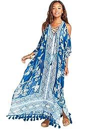 Exlura - Vestido de Verano con Estampado étnico Kaftan para Cubrir el Traje de baño, Maxi Vestido de Playa Colorido
