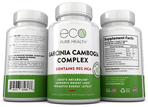 Garcinia Cambogia with 95% HCA - Pure Garcinia Cambogia Extract with HCA, Triple Strength, All Natural Appetite Suppressant, Weight Loss Supplement By Eco Pure Health by Klingler (Image #1)