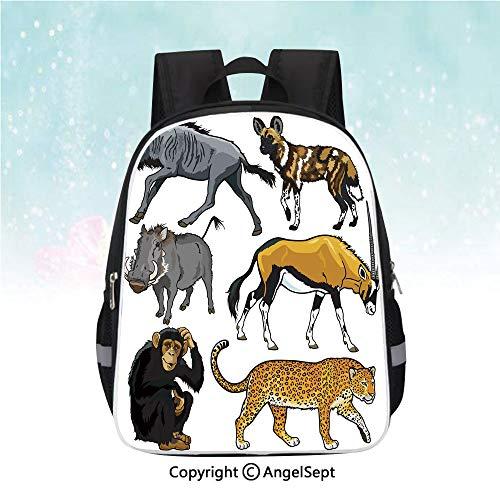 Kids School Backpack,Collection of Cartoon Style Wild Animals of Africa Fauna Habitat Savannah Wilderness Decorative,13