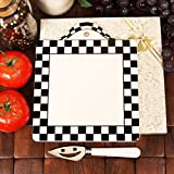 Hanging Black and White Checkered Trivet With Cheese Knife Set - 24 Sets