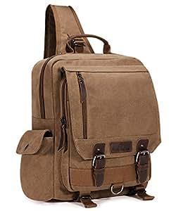 Plambag Canvas Sling Backpack One Strap Travel Sport Crossbody Bag Coffee