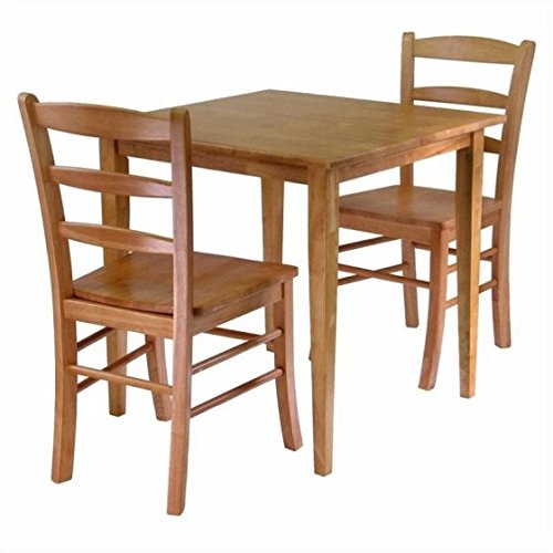 Simple, Relaxed and Straight Forward Shaker Style Three Piece Dining Set, Square Table with Two Ladder Back Chairs, Made with Sturdy and Durable Solid Wood in Light Oak Finish + Expert Guide (Light Oak Ladder)