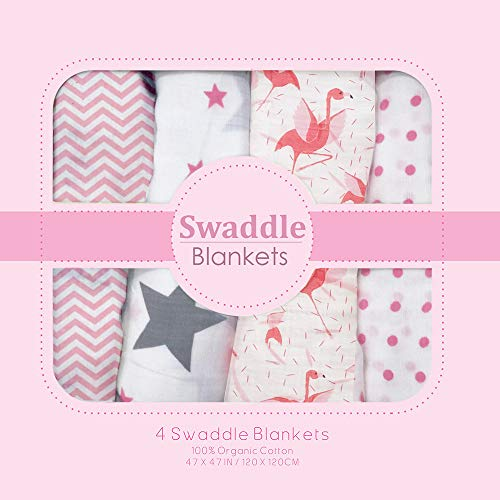 Muslin Swaddle Blankets - Soft Silky 100% Muslin Cotton Swaddle Blanket for Baby, Large 47 x 47 inches, Set of 4- Zig Zag, Polka, Star & Flemingo Print in Pink Pattern