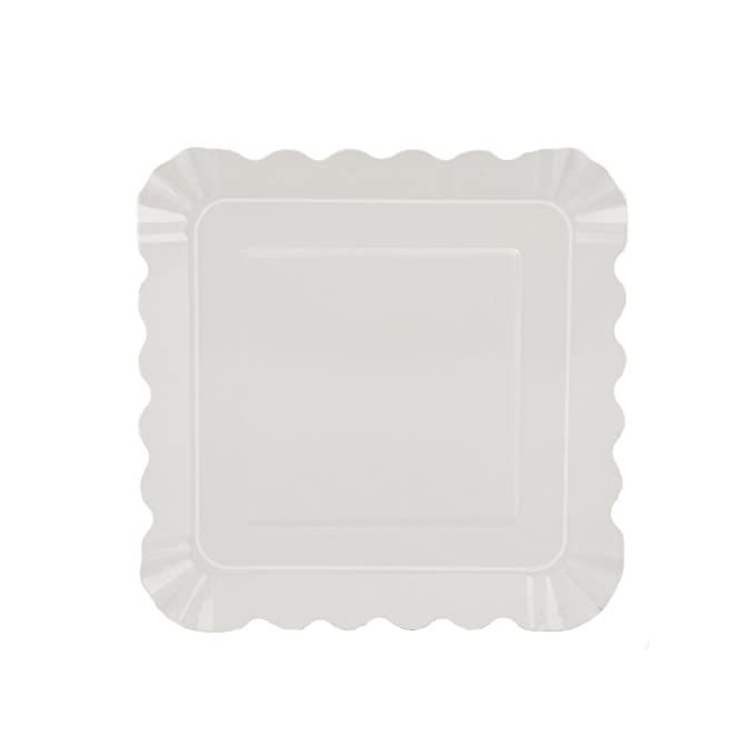 Simply Baked APL-104 Large Paper Appetizer Plate 5 Square Pearl Border