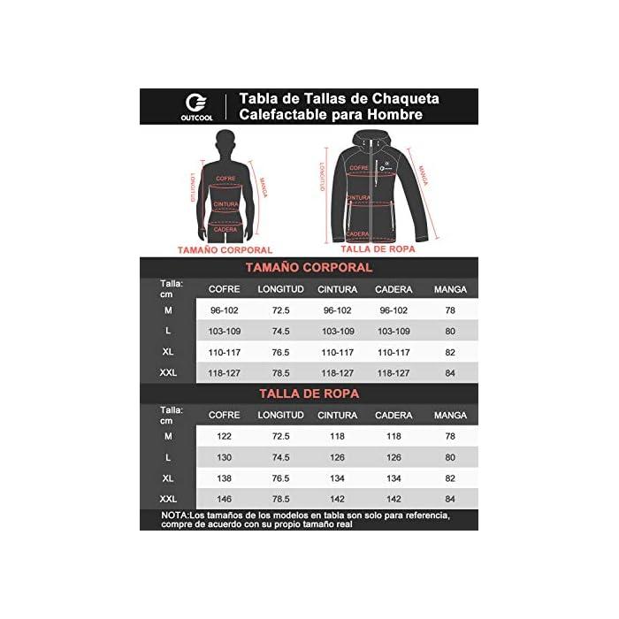 51hBcsSRNTL 4 Grandes Zonas de Calentamiento: La chaqueta térmica OUTCOOL tiene elemento de calefacción en 4 zonas: pecho izquierdo, pecho derecho, espalda y cuello. Tecnología de calentamiento rápido de alta calidad, que se calientan rápidamente durante los períodos fríos al emitir una buena cantidad de calor 4 Modos de Control de Temperatura: La chaqueta térmica calentada tiene 4 modos de control de temperatura de diseño: ① Precalentamiento: luz roja intermitente, calentamiento rápido; ② temperatura alta: luz roja; ③ temperatura media: luz blanca ; ④ temperatura baja: luz azul Capa Exterior Impermeable y Forro Polar: La chaqueta térmica térmica tiene una capa exterior hecha de tela impermeable a prueba de viento y tiene un buen efecto protector en el mal tiempo; el forro interior es de felpa, más abrigado y muy adecuado para escalada al aire libre, esquí, motociclismo, etc.