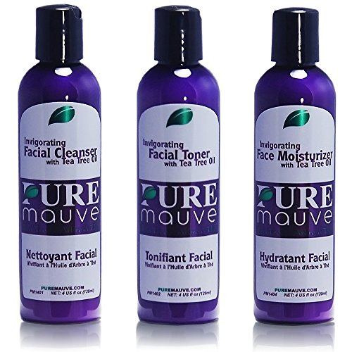 (Facial Care Set with Tea Tree Oil and Aloe Vera, Gentle Kit for Sensitive, Dry, Normal, Oily and Acne Prone Skin, Pure Mauve Treatment System, No Parabens or Sulfates, Cruelty Free )