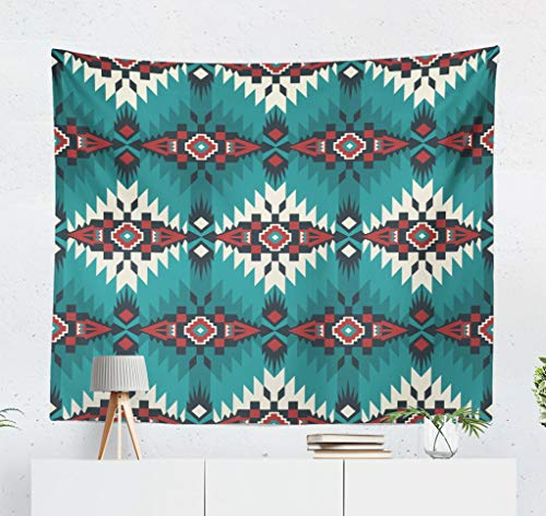 (threetothree Native American Art Wall Tapestry, 60x50 Inches Decorative Wall Hanging Tapestry Aztec Geometric Native American Indian Southwest Ethnic Cover for Bedroom Living Room Tablecloth Dorm)
