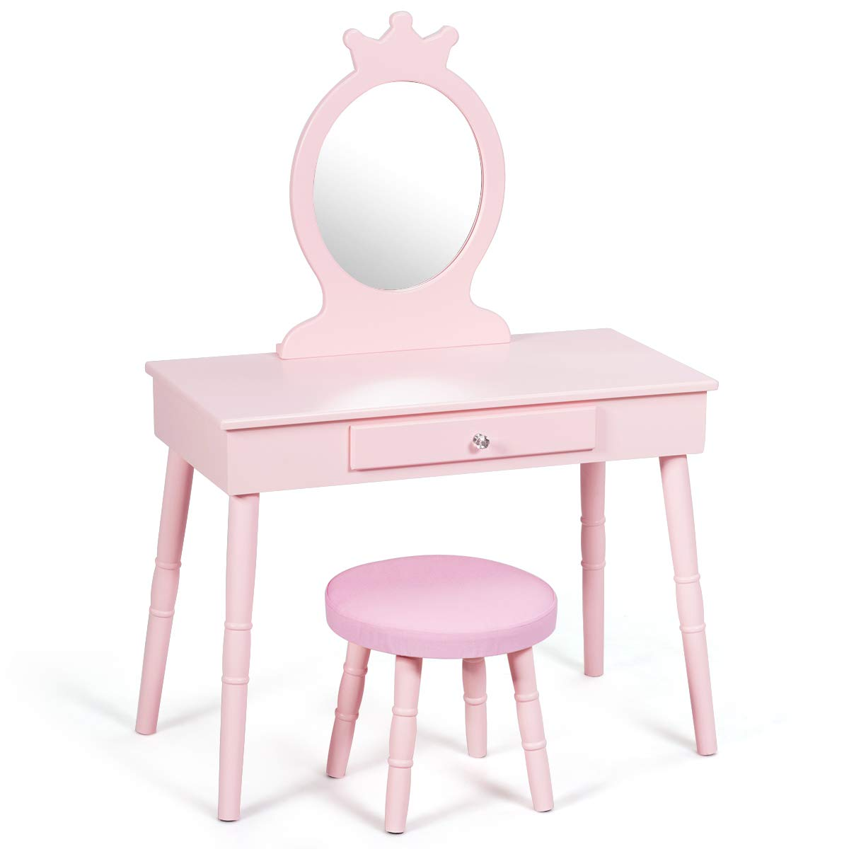 GOFLAME Kids Vanity Set, Princess Dressing Table Set, Wooden Dresser, Little Girls Makeup Table and Stool Set, Pretend Beauty Play Set with Real Mirror, Pull-Out Drawer and Cushioned Stool, Pink by GOFLAME