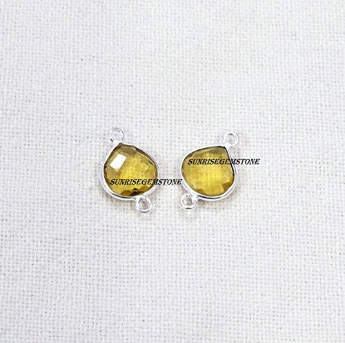 (Devgemsandjewels 2 Pcs. Lot Citrine Quartz Hydro Heart Shape 10 mm 925 Silver Plated Double Bail Faceted Bezel Gemstone Charm Connector.)