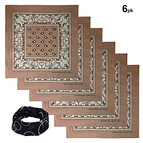 Basico Bandanas Value Pack 100% Cotton Paisley Head Wrap with Tube Face Mask/Headband (6pk- Ivory)