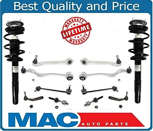 (Mac Auto Parts 156969 Front Complete Struts + Master Chassis Control Arm Kit For BMW 01-03 525i E39)