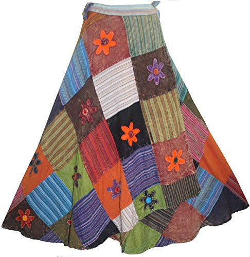 400 WS Agan Traders Hippie Wrap Patch Cotton Skirt (Multi 1, S/M)