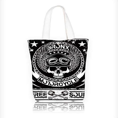 Ladies canvas tote bag skull t shirt graphic design reusable shopping bag zipper handbag Print Design W16.5xH14xD7 INCH