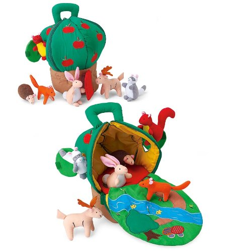 Fabric Apple House with Embroidered Fold-Out Mat and 6 Plush - Plush Apple