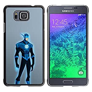 A-type Colorful Printed Hard Protective Back Case Cover Shell Skin for Samsung GALAXY ALPHA G850 ( Superhero Blue Costume Cartoon Comic Art )