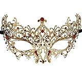Xvevina Vintage Gold Red Rhinestones Deco Venetian Masquerade Mask Women