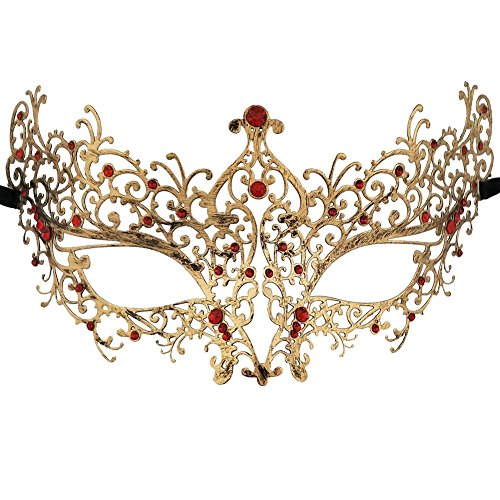 Xvevina Vintage Gold Red Rhinestones Deco Venetian Masquerade Mask Women Accessories Favor (Gold Mask Masquerade)