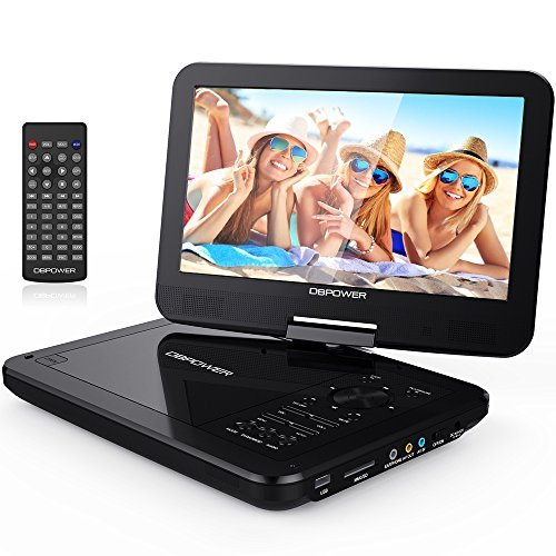 DBPOWER 10.5″ Portable DVD Player with Rechargeable Battery, Swivel Screen, SD Card Slot and USB Port – Black