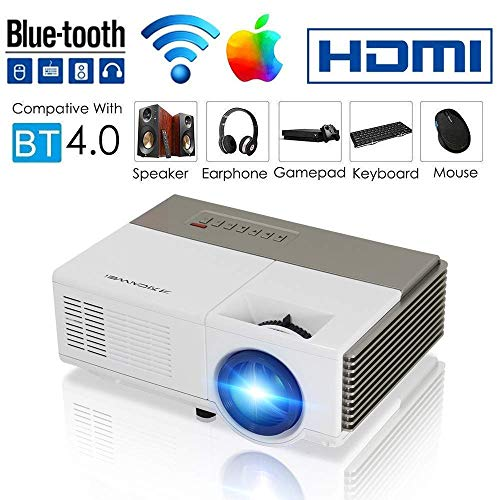 Bluetooth WiFi Wireless Smart Mini Projector LED LCD 2800 Lumen HDMI USB VGA Built-in Speaker Support 1080p HD Airplay Screen Mirror, Portable Video Projector Home Theater for Gaming Basement Outdoor