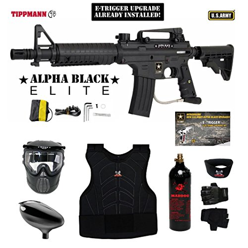 MAddog Tippmann U.S. Army Alpha Black Elite Tactical w/E-Grip Beginner Protective CO2 Paintball Gun Package - Black