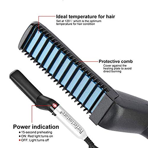 Edieaty Electric Hair Comb for Men, Quick Beard Straightener Comb, Styling Comb Hair Curlers, Hair Straightener, Magic Massage Comb Beard Straightener Multifunctional Hair Comb Electric Hair Tool