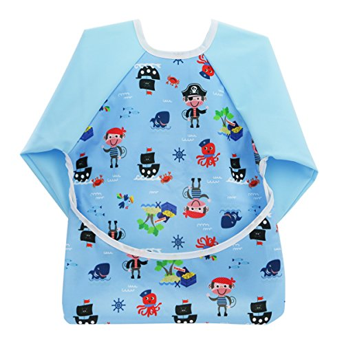 Hi Sprout Infant Toddler Baby Waterproof Sleeved Bib, Bib with Sleeves&Pocket, 12-24 Months (Pirate Captain)