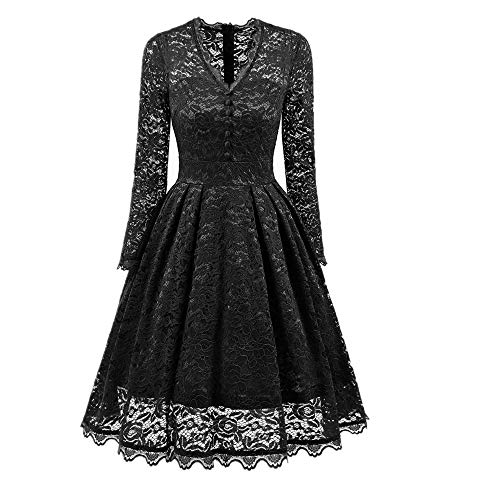 iYBUIA Vintage Women's V Neck Long Sleeve Lace Dresses, Cocktail Party Bridesmaid Dress