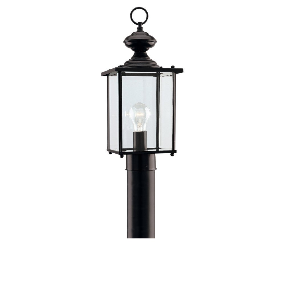 Sea Gull Lighting 8257-12 Single-Light Jamestowne Post Lantern with Clear Beveled Glass, Black by Sea Gull Lighting
