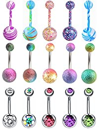 15Pcs 14G Stainless Steel Belly Button Rings for Women Girls CZ Screw Navel Bars Body Piercing Jewelry