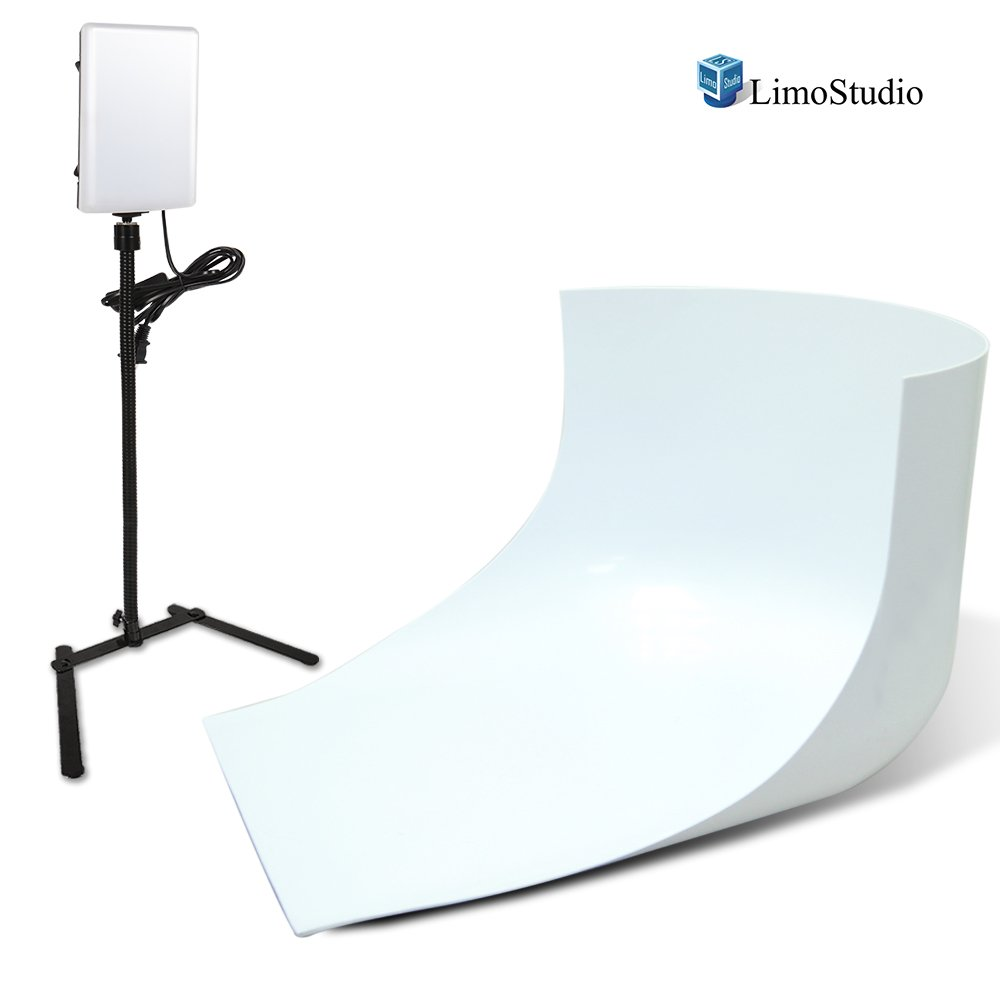 LimoStudio LED Light Panel with Goose Neck Extension Adapter, Mini Table Top Camera Light Stand, Seamless Studio Matte Cyclorama Module Background Tray, Photo Video Lighting Studio Kit, AGG2240