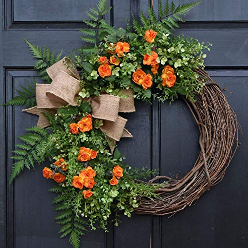 (Orange Mini Rose, Eucalyptus and Mixed Greenery Spring Summer Grapevine Wreath with Burlap Bow for Farmhouse Front Door Decor)