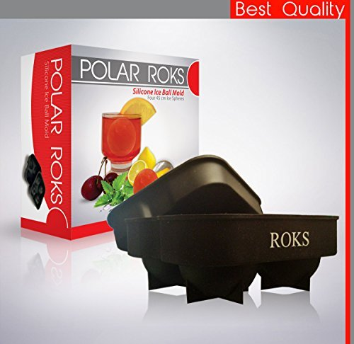 Polar Roks Ice Ball Maker - Premium Quality 4 Sphere Flexible Silicon Mold Tray Kit