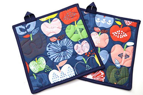 Apple Quilted Fabric Pot Holders Set in Colorful Retro Fabric -