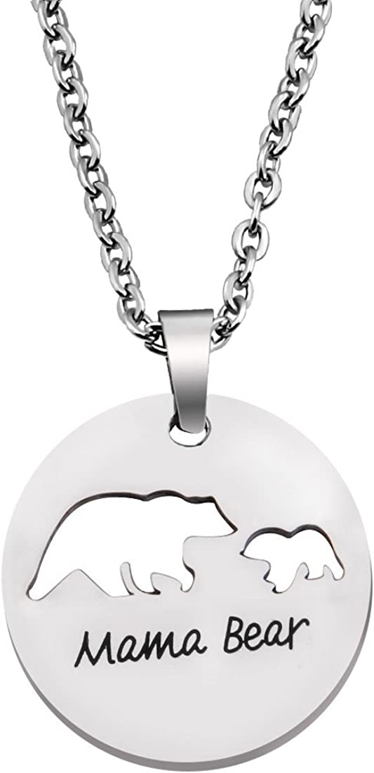1 cub plain mother bear and one cub initial necklace mother necklace mama bear baby bear Ready to ship