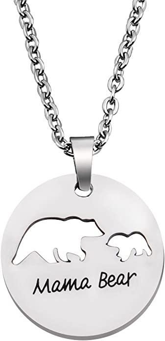 MAMA BEAR Necklace \u2022 Natural Wood Pendant \u2022 Protection Amulet \u2022 Adjustable Linen cord \u2022 Gift for Mom \u2022 Lasercut Jewelry \u2022 Spirit Animal