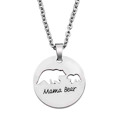 Mama Bear Round Pendant Necklace