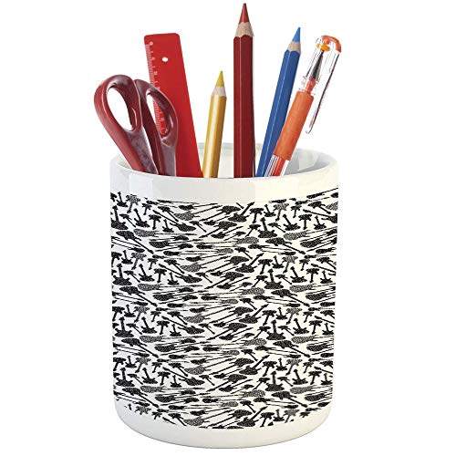 Pencil Pen Holder,Music,Printed Ceramic Pencil Pen Holder for Desk Office Accessory,Grunge Style Hand Drawn Style Electric Guitars Sketch Rock Pop Vibes Print ()