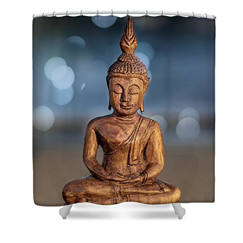 Pixels Shower Curtain (74'' x 71'') ''Buddha '' by Pixels