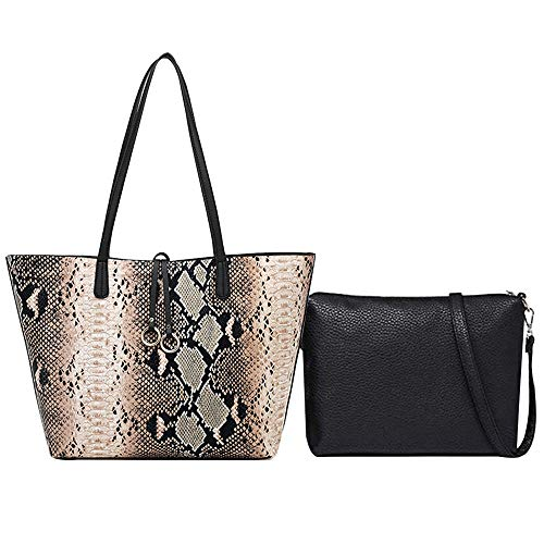 Felice Women Fashion Snakeskin Handbags Python Snake Leather Shoulder Messenger Bags (light brown)