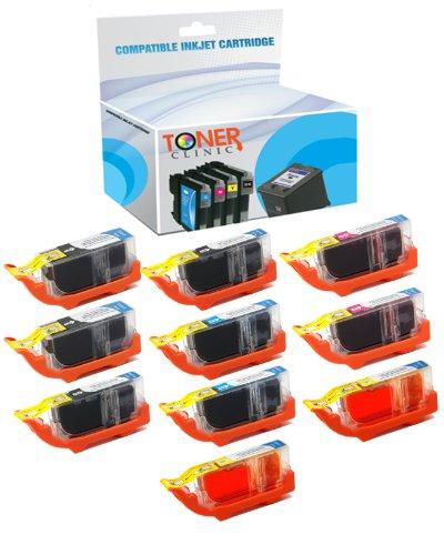 10 Pack - Toner Clinic PGI-220 & CLI-221 Compatible Inkjet Cartridges for PIXMA IP3600 IP4600 IP4700 MP540 MP560 MP620 MP630 MP640 MP980 MP990 MX860 MX870 ()
