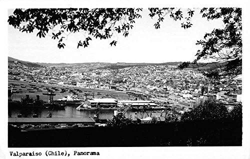 Birdseye Real Photo View - Valparaiso Chile Birdseye View Of City Real Photo Antique Postcard K79716