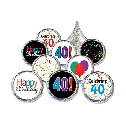 40th Birthday Party Favor Stickers - Multi-Colored (324 Count) 40th Party Favors