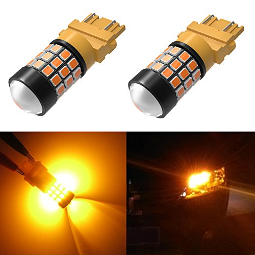 (Alla Lighting Super Bright LED 3157 Bulb High Power 2835-SMD 4157 3457 3156 3057 3157 LED Bulb for Turn Signal Blinker Light Bulbs Replacement- Compatible Standard & CK Type, Amber Yellow (Set of 2))