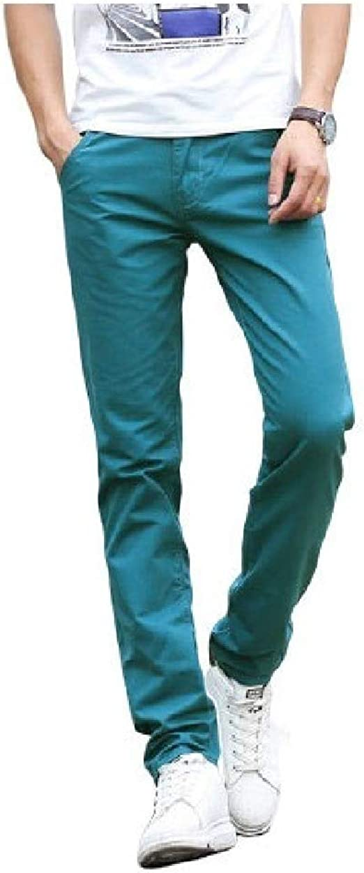 VITryst Men's Solid Colored With Pocket Mid Waist Comfy Thin 100% Cotton Chino Pant