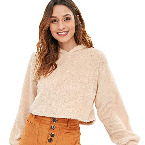 ZAFUL Women's Long Sleeve Hoodie Faux Fur Solid Color Crop Pullover Sweatshirt Tops (S, Vanilla-1)
