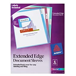 Avery Extended Edge Document Sleeves, Assorted, Pack of 6 (72257)