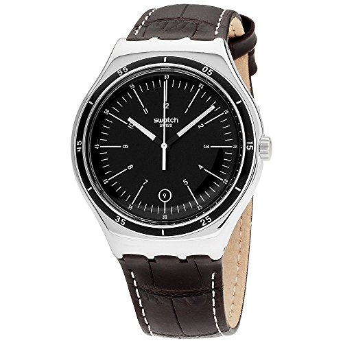 Mens Black Dial Strap Watch - Swatch Irony Trueville Black Dial Leather Strap Men's Watch YWS400